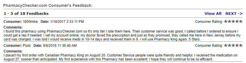 Canadian Pharmacy King User Testimonials (source: https://www