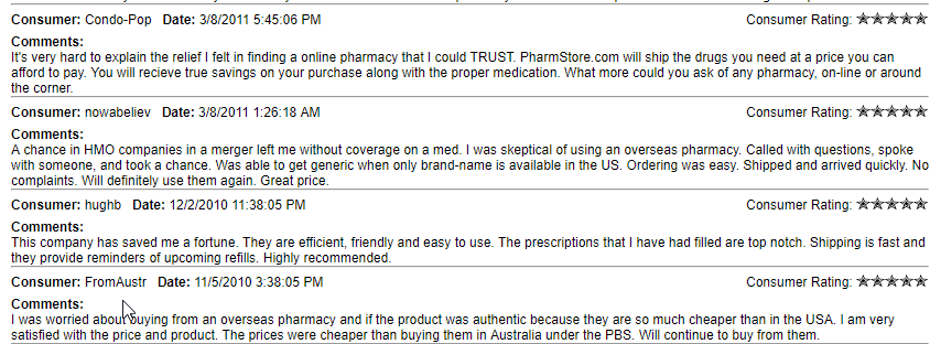 Legit Online Drug Stores Reviews (source: https://www