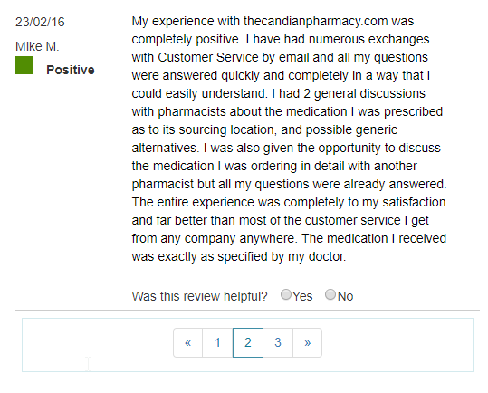 The Canadian Pharmacy User Testimonial (source: https://www