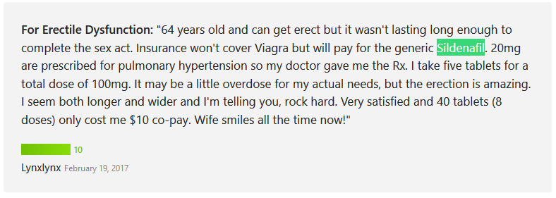 The user Lynxlynx also rated Sildenafil 10 out of 10 points and mentioned that he only used the Sildenafil 20 mg generic product because his insurance wont cover the cost of Viagra
