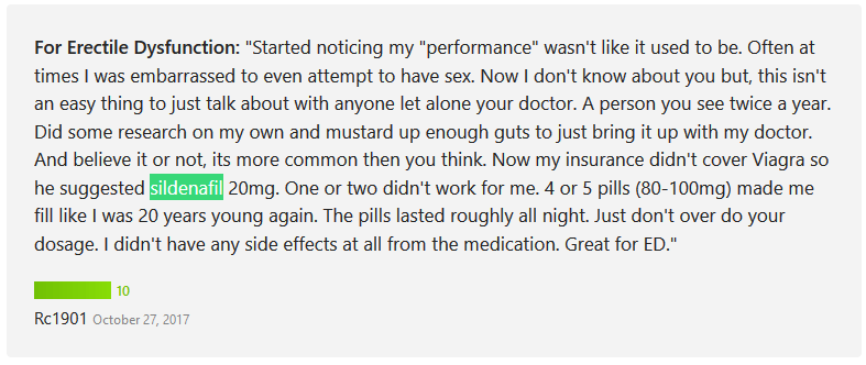 According to the user Rc1901, he consulted his doctor for his performance issues and he was prescribed with Viagra