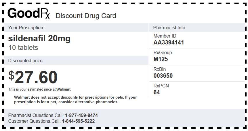 Generic Sildenafil 10 Tablets 20mg Walmart Coupon
