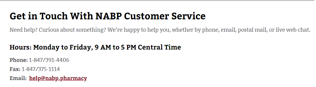 NABP Customer Service Phone Number